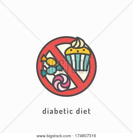 Diabetic diet vector icon. Healthy diet concept