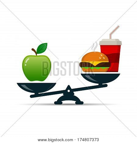 Scales with apple and burger fast food vector color illustration showing balance between healthy and unhealthy food.