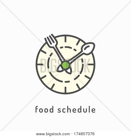 Food schedule icon. Rational nutrition, healthy lifestyle, healthy diet concept