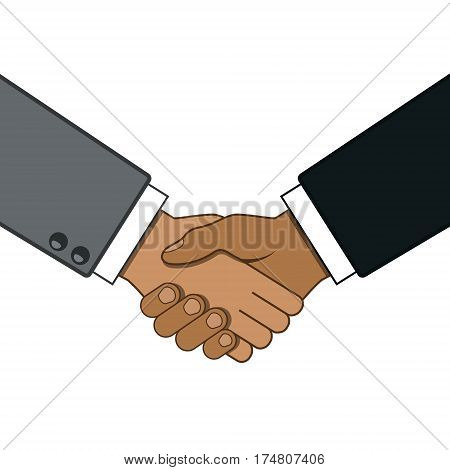 Shaking hands business vector illustration symbol of success deal partnership greeting shake casual handshaking agreement flat sign design isolated.