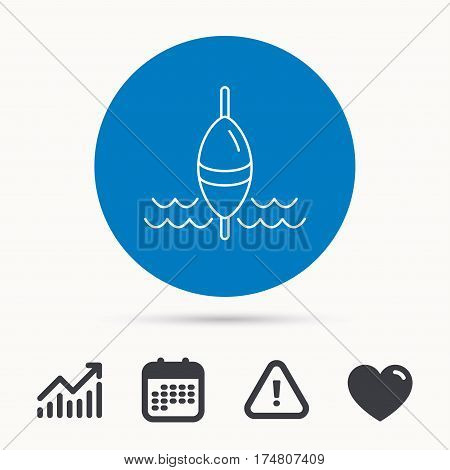 Fishing float icon. Fisherman bobber sign. Calendar, attention sign and growth chart. Button with web icon. Vector
