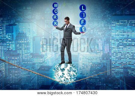 Businessman in work home balance concept