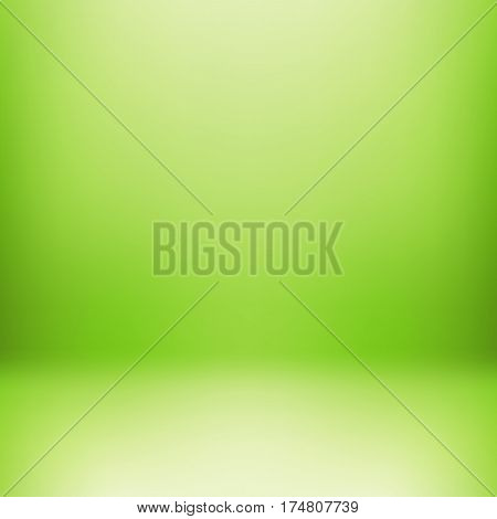 Green studio background or backdrop with empty space
