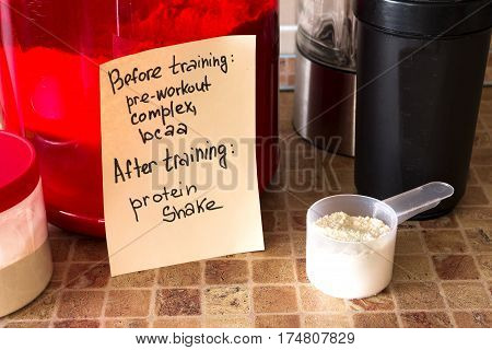 sport nutrition supplements: protein pre-workout complex bcaa and guide for it (in the kitchen)