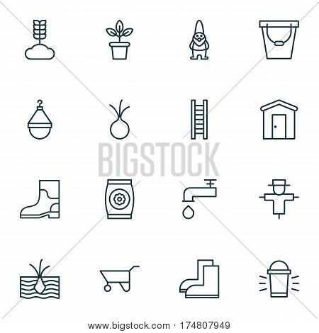 Set Of 16 Garden Icons. Includes Fertilizer, Dwarf, Gardening Shoes And Other Symbols. Beautiful Design Elements.