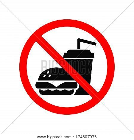 No fast food allowed symbol isolated on white background. Prohibition sign.
