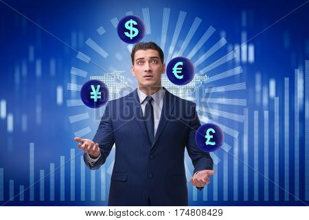 Businessman juggling between various currencies