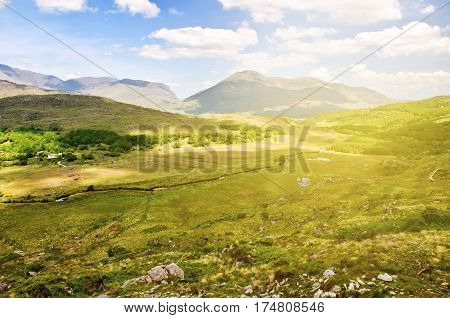 beautiful epic irish countryside rural landscape scenery from the ring of kerry. along the wild atlantic way