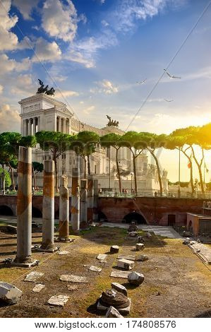 View on Vittoriano from the Forum of Trajan square in Rome, italy