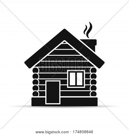 Wooden house flat icon. Timbered and wood home illustration. Rural or country home sign. Vector isolated illustration.