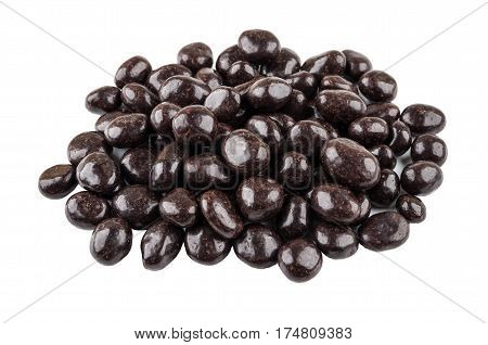 Heap Of Dragee Raisins In Powder Cacao Isolated On White