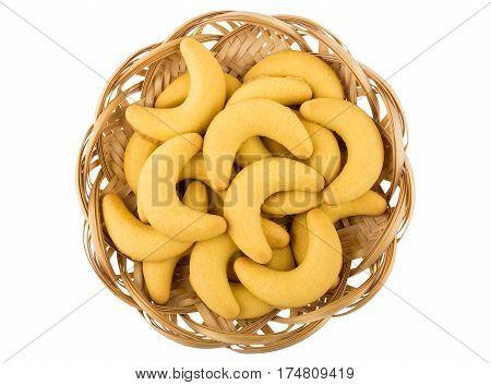 Shortbread Cookies In Shape Of Banana In Wicker Basket