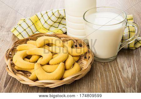 Wicker Basket With Shortbread Cookies,bottle Of Milk, Cup