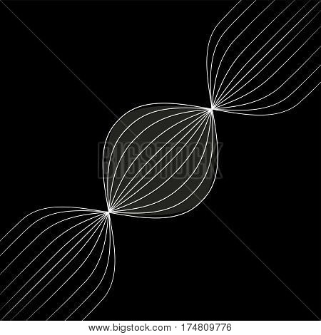 Abstract white lines retro space background for business