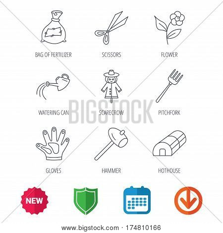 Hammer, hothouse and watering can icons. Bag of fertilizer, scissors and flower linear signs. Hammer, scarecrow and pitchfork flat line icons. New tag, shield and calendar web icons. Download arrow