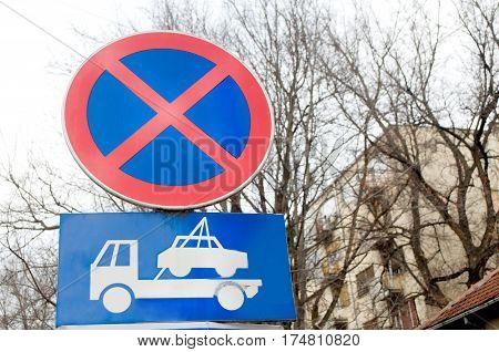 Traffic sign indicating that parking is forbidden, Novi Sad, Serbia