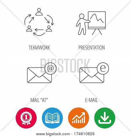 Teamwork, presentation and e-mail icons. E-mail inbox linear sign. Award medal, growth chart and opened book web icons. Download arrow. Vector