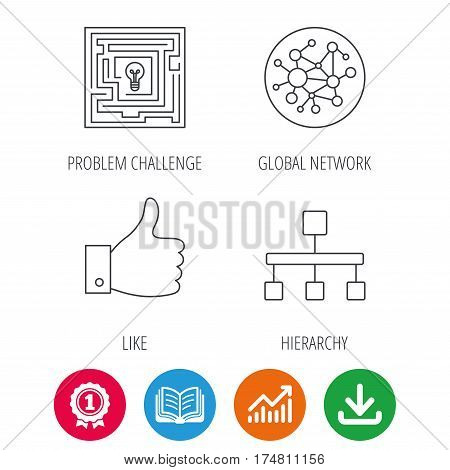 Global network, like and hierarchy icons. Maze linear sign. Award medal, growth chart and opened book web icons. Download arrow. Vector