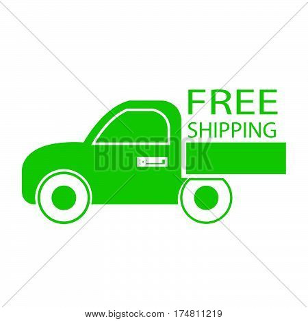 simple flat colour free shipping car icon vector