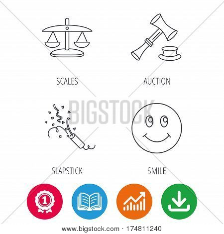 Scales of justice, auction hammer and slapstick icons. Smiling face linear sign. Award medal, growth chart and opened book web icons. Download arrow. Vector