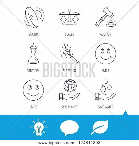 Scales of justice, auction hammer and strategy icons. Save planet and water linear signs. Smile, slapstick icons. Light bulb, speech bubble and leaf web icons. Vector