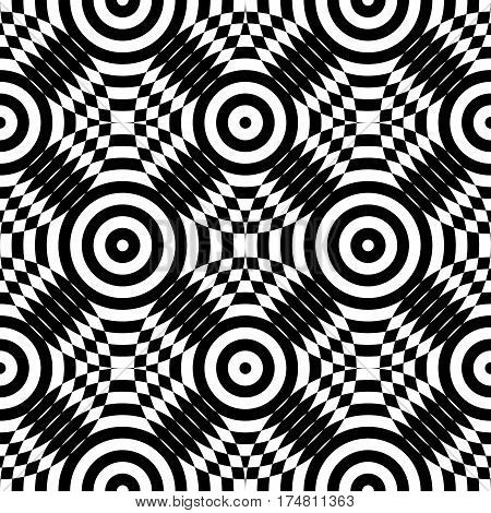 Abstract vector seamless op art pattern. Monochrome plop art graphic ornament. Optical illusion repeating texture.