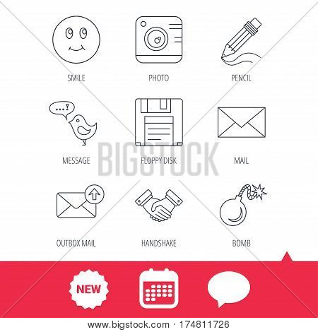 Photo camera, pencil and handshake icons. Inbox e-mail, message speech bubble and smile linear signs. New tag, speech bubble and calendar web icons. Vector