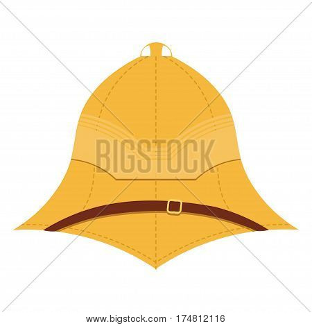 Illustration cork helmet on a white background. Isolate. Element uniforms for travel to the tropics. Stock vector