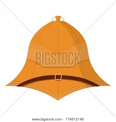 Illustration cartoon cork helmet on a white background. Isolate. Element uniforms for travel to the tropics. Stock vector