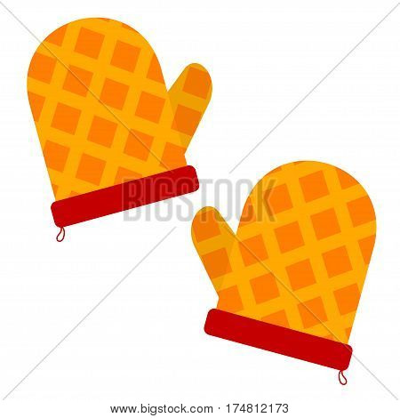 Vector illustration of a kitchen pot holders on white background. Element of kitchen accessories. Stock vector