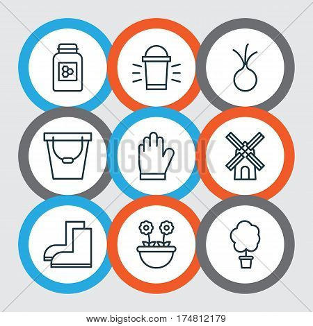 Set Of 9 Holticulture Icons. Includes Hang Lamp, Pail, Herb And Other Symbols. Beautiful Design Elements.