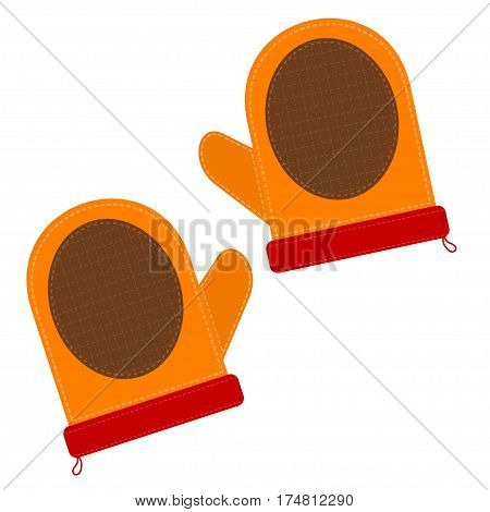 Cartoon illustration of a kitchen pot holders on white background. Element of kitchen accessories. Stock vector