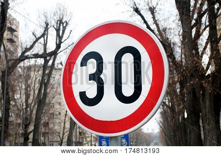 Traffic sign indicating that the speed limit is 30 km / h, Novi Sad, Serbia