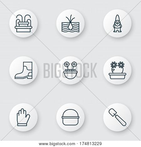 Set Of 9 Plant Icons. Includes Herb, Package, Shovel And Other Symbols. Beautiful Design Elements.