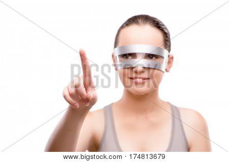 Techno girl pressing virtual button isolated on white