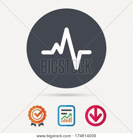 Heartbeat icon. Cardiology symbol. Medical pressure sign. Report document, award medal with tick and new tag signs. Colored flat web icons. Vector