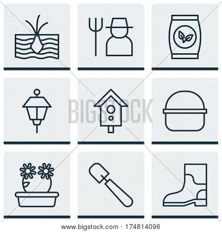 Set Of 9 Garden Icons. Includes Rubber Boot, Growing Plant, Shovel And Other Symbols. Beautiful Design Elements.