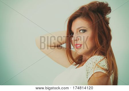 Beauty of ginger hair concept. Portrait of beautiful happy redhead adult woman.