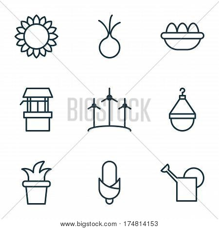Set Of 9 Agriculture Icons. Includes Bush Pot, Hanger, Ovum And Other Symbols. Beautiful Design Elements.