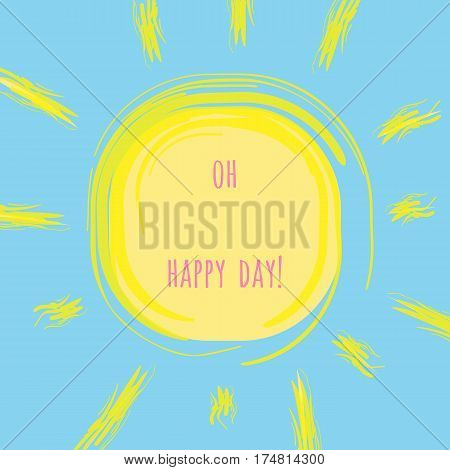 International day of happiness illustration. Vector greeting card with sun on background.