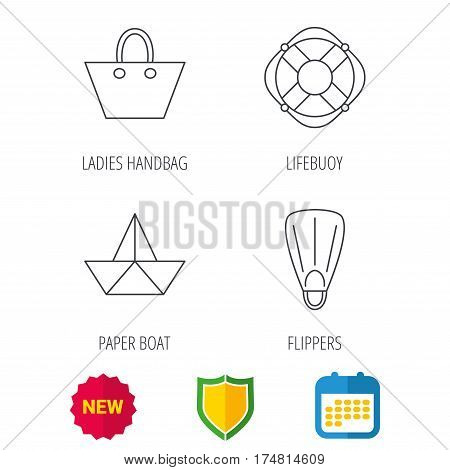 Paper boat, flippers and lifebuoy icons. Women handbag linear sign. Shield protection, calendar and new tag web icons. Vector