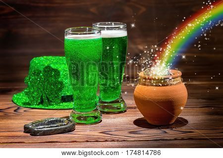 St Patricks Day With Glasses Of Green Beer, Shamrock, Leprechaun Hat, Horseshoe, Pot Full Gold Coins