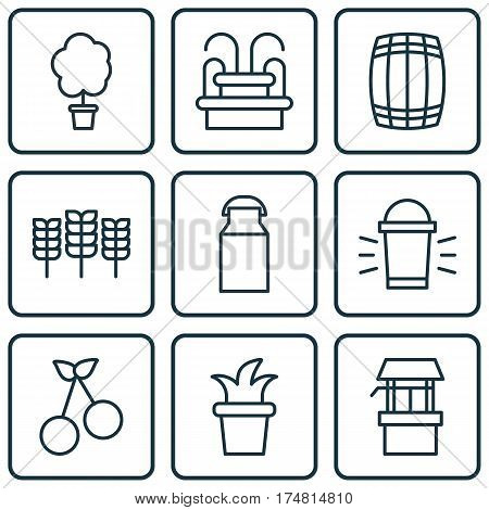 Set Of 9 Agriculture Icons. Includes Water Source, Jug, Bush Pot And Other Symbols. Beautiful Design Elements.