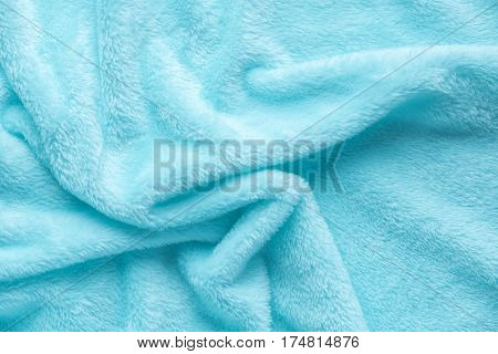 Tender Blue Texture Of Towel Folded Like Background, Close Up