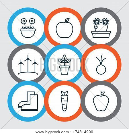 Set Of 9 Planting Icons. Includes Taste Apple, Gardening Shoes, Root And Other Symbols. Beautiful Design Elements.