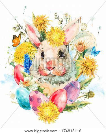 Watercolor cute white rabbit with butterfly and spring flowers, yellow and white dandelions, colored eggs. Easter spring hand painted illustration isolated on white background