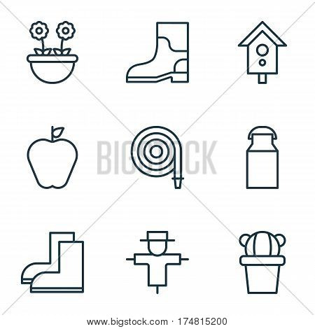 Set Of 9 Plant Icons. Includes Desert Plant, Bugbear, Rubber Boot And Other Symbols. Beautiful Design Elements.