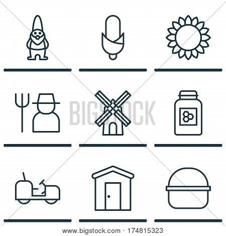 Set Of 9 Farm Icons. Includes Grower, Maize, Helianthus And Other Symbols. Beautiful Design Elements.