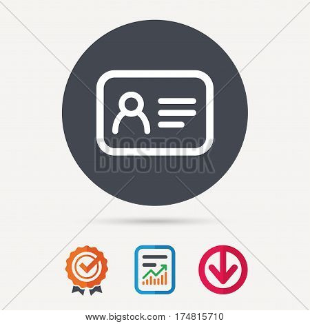 ID card icon. Personal identification document symbol. Report document, award medal with tick and new tag signs. Colored flat web icons. Vector