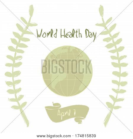 Olive branches and Earth World Health Day illustration.
